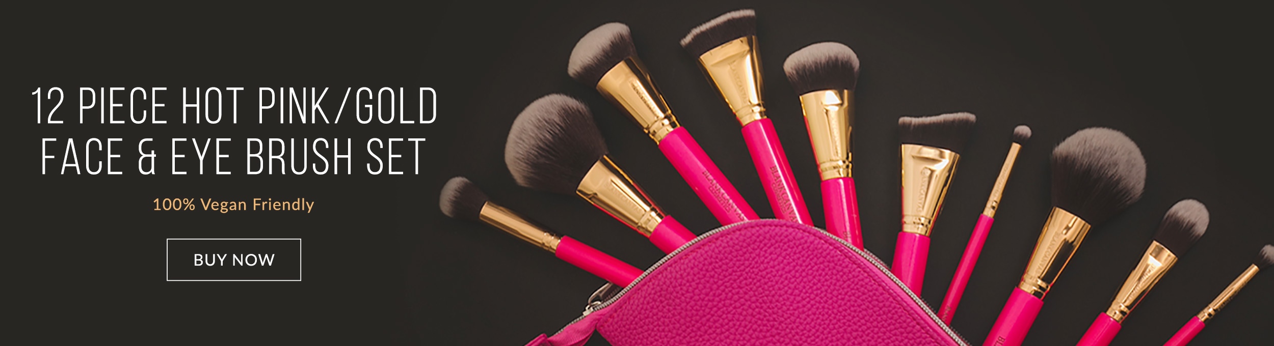 Blank Canvas Cosmetics12 Piece Hot Pink and Gold Dimension Brush Series Set