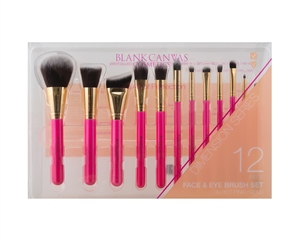 Blank Canvas Cosmetics  12 Piece Hot Pink Gold Dimension Series Set