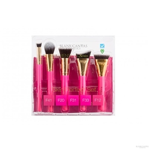 Blank Canvas Cosmetics  Skin Perfection Hot Pink and Gold Brush Set
