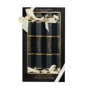 Blank Canvas Cosmetics  4 Piece Luxury Gifting Crackers Black and Gold