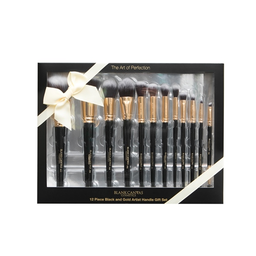 12 Piece Black 'n' Gold Artist Handle Set  - Click to view a larger image